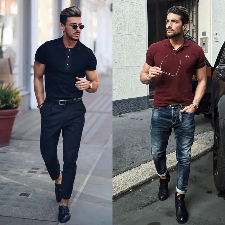 0103a4f24  rowanrow    marianodivaio with two summer outfit ideas with polo shirts  one with a monochrome all black look the other with a maroon light wash  denim black ...