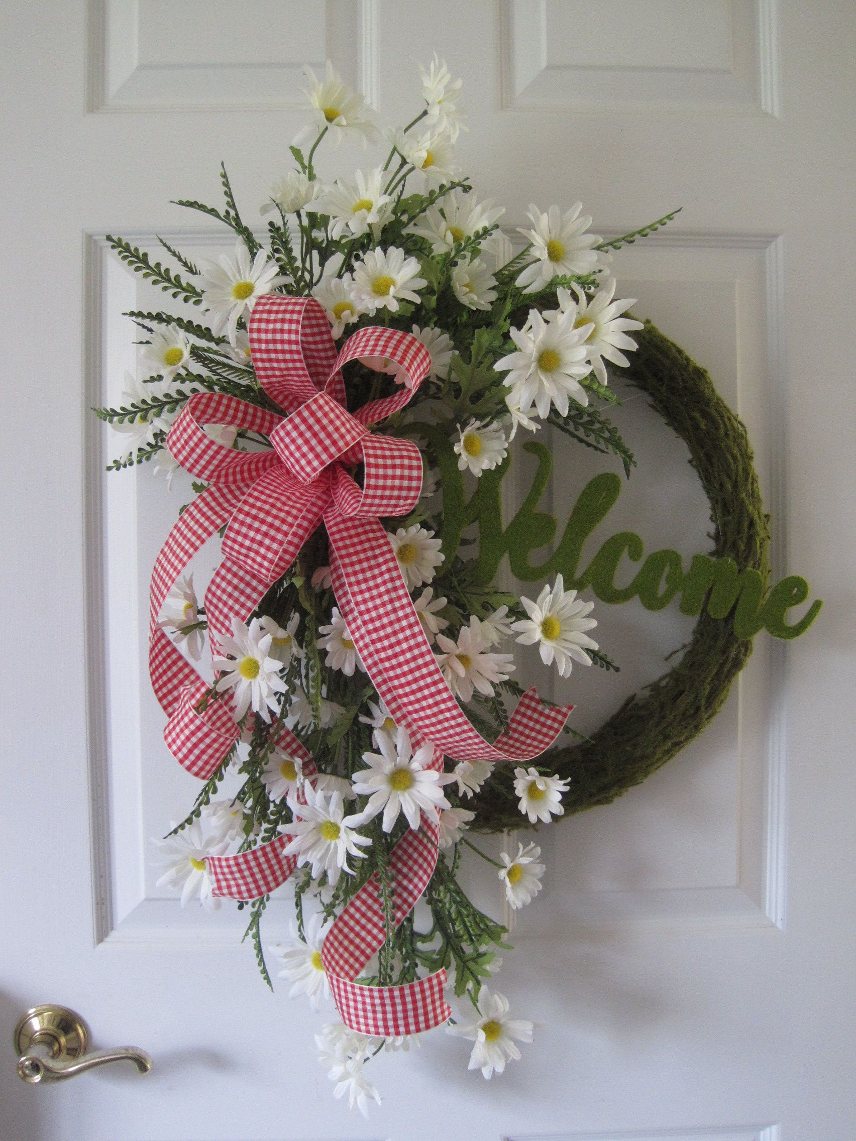 Photo of Mother's Day gift wreath, spring wreath for front door, moss green wreath, daisy welcome wreath, red, white, yellow summer wreath