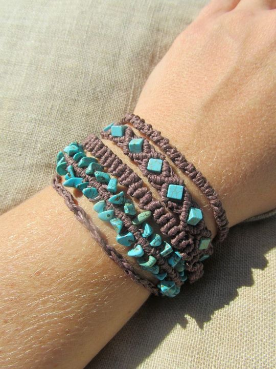 Turquoise and Brown Hemp Macrame Cuff Bracelet Natural Bohemian