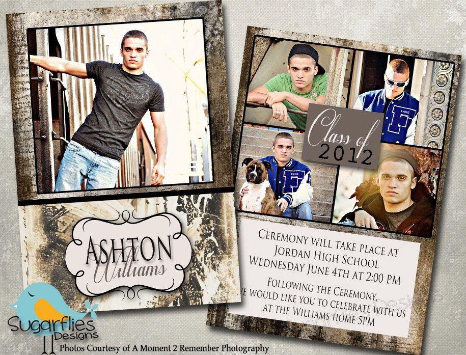 Graduation Announcement PHOTOSHOP TEMPLATE Senior Graduation