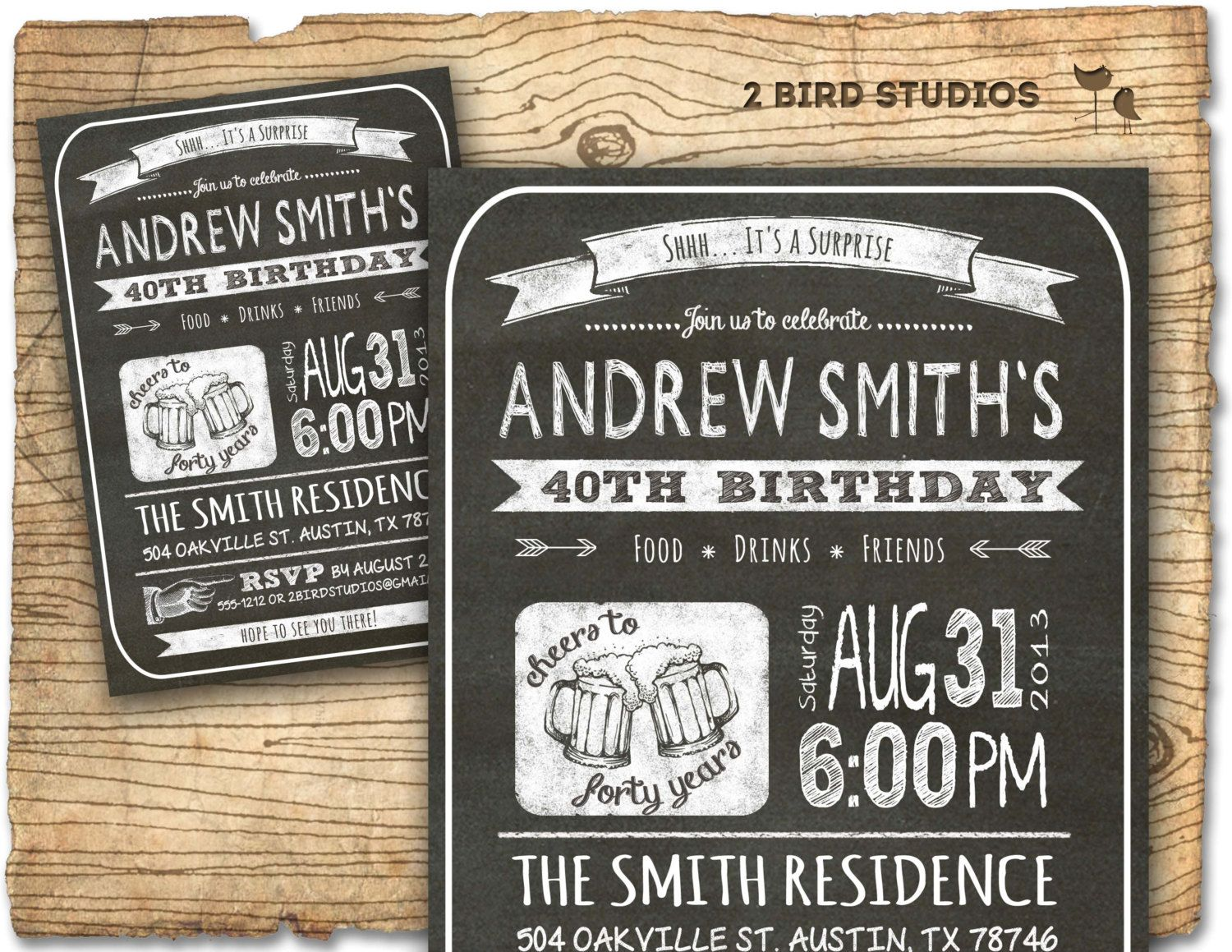 30th birthday invitation Male birthday party by 2birdstudios – Birthday Invitations for Men