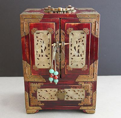 Antique Chinese Jewelry Box Wood Jade Brass Dovetailed 4