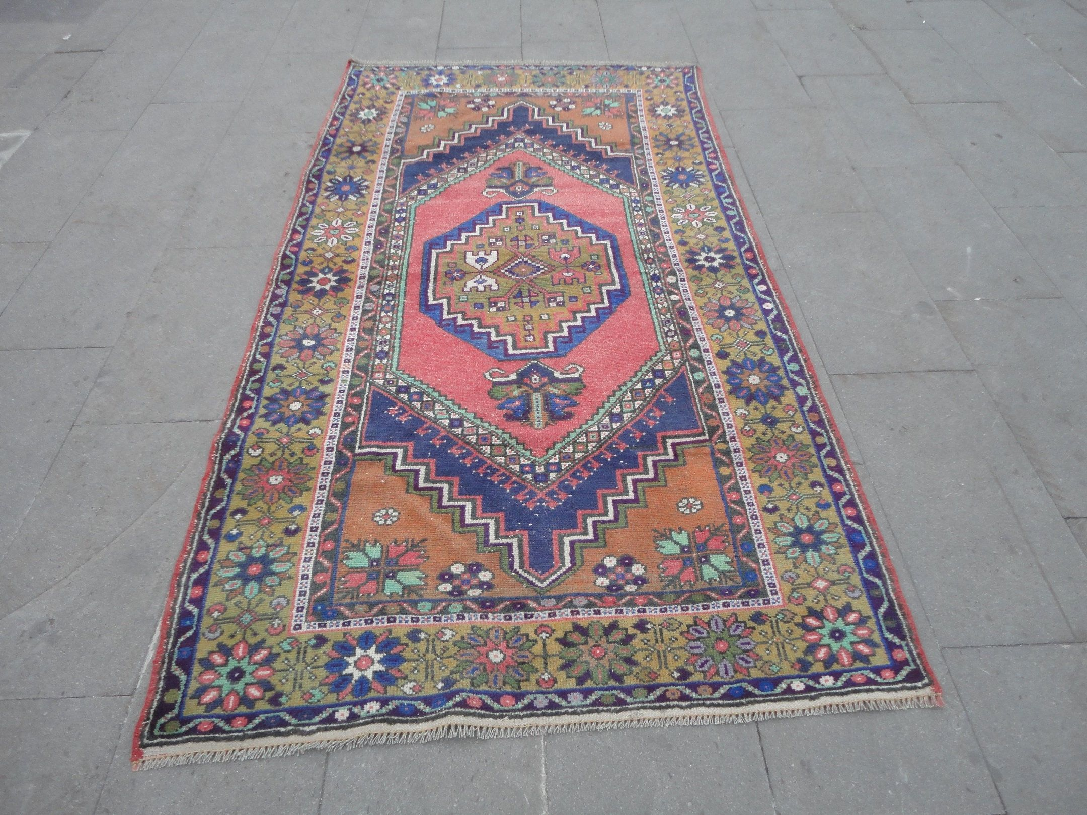 "Dining Room Rug,Vintage Turkish Low Pile Carpet,Bedroom Rug 7′ 4"" x 3′ 9"" FT,Wool Area Boho Rug,Hand Knotted Vibrant Office Rug Carpet HER"