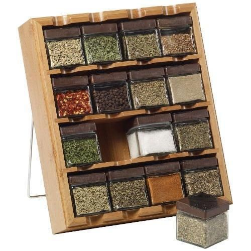 Kamenstein 16-Cube Bamboo Inspirations Spice Rack with Free Spice Refills for #1