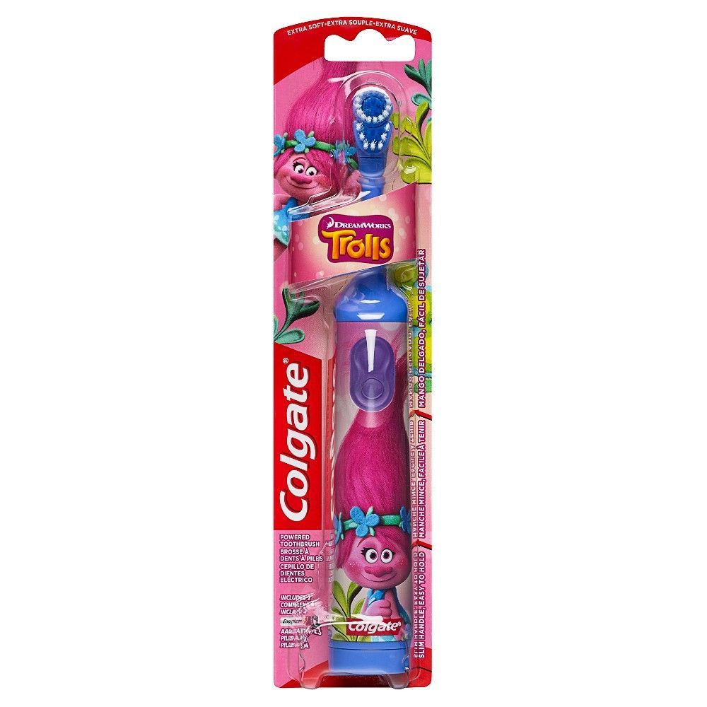 Colgate kids trolls power toothbrush brushing teeth