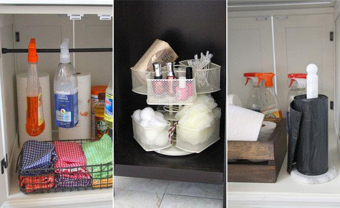Tension rod for bottle storage + paper towel holder for garbage bag dispenser