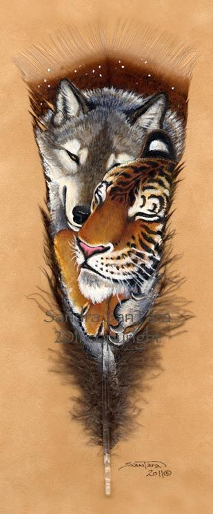 Love Snuggles --Tiger and a wolf painted on a feather Art by Sandra SanTara
