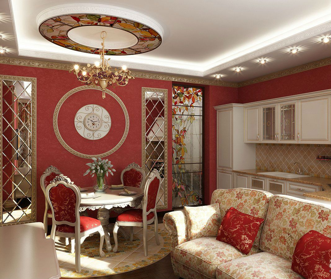 Decorate Living Room And Dining Room Combo: Beautiful Red Living Room Dining Room Combo With Pop