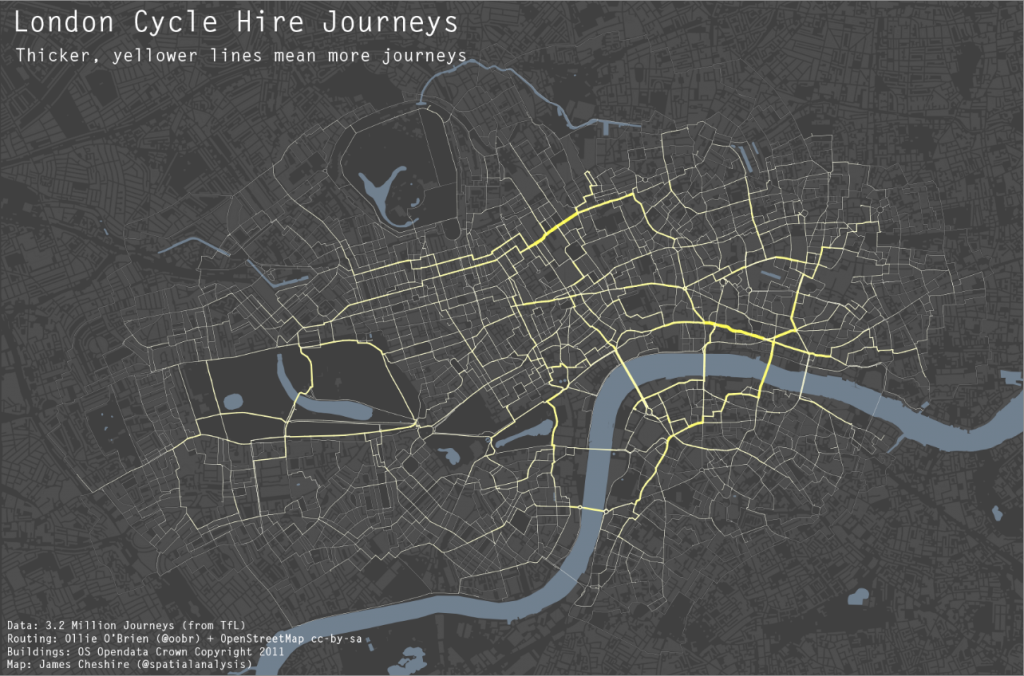 map of cycle routes in London made
