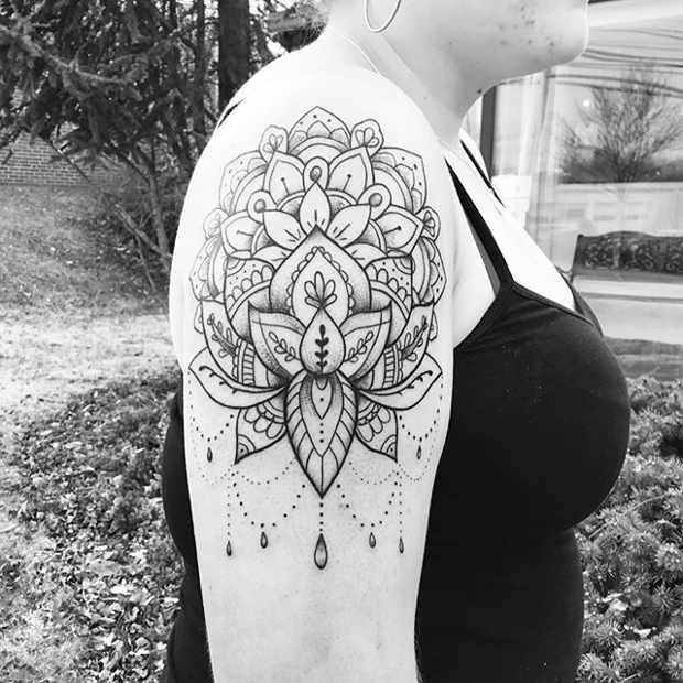 Women's Upper Arm Mandala Tattoo