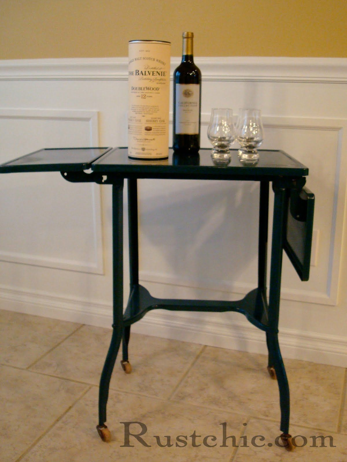 Repurposed vintage typewriter desk drink cart diy for Repurposed metal furniture