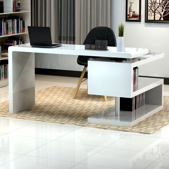 Crafted In A White Lacquer Finish, The Modern Office Desk Features A  Simplistic Design That