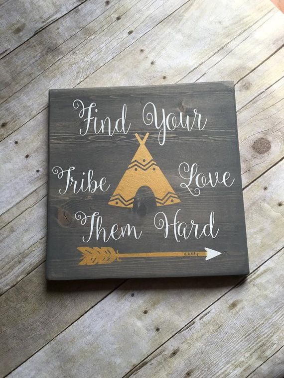 Download Wood Sign Find Your Tribe Love Them Hard Sign by ...