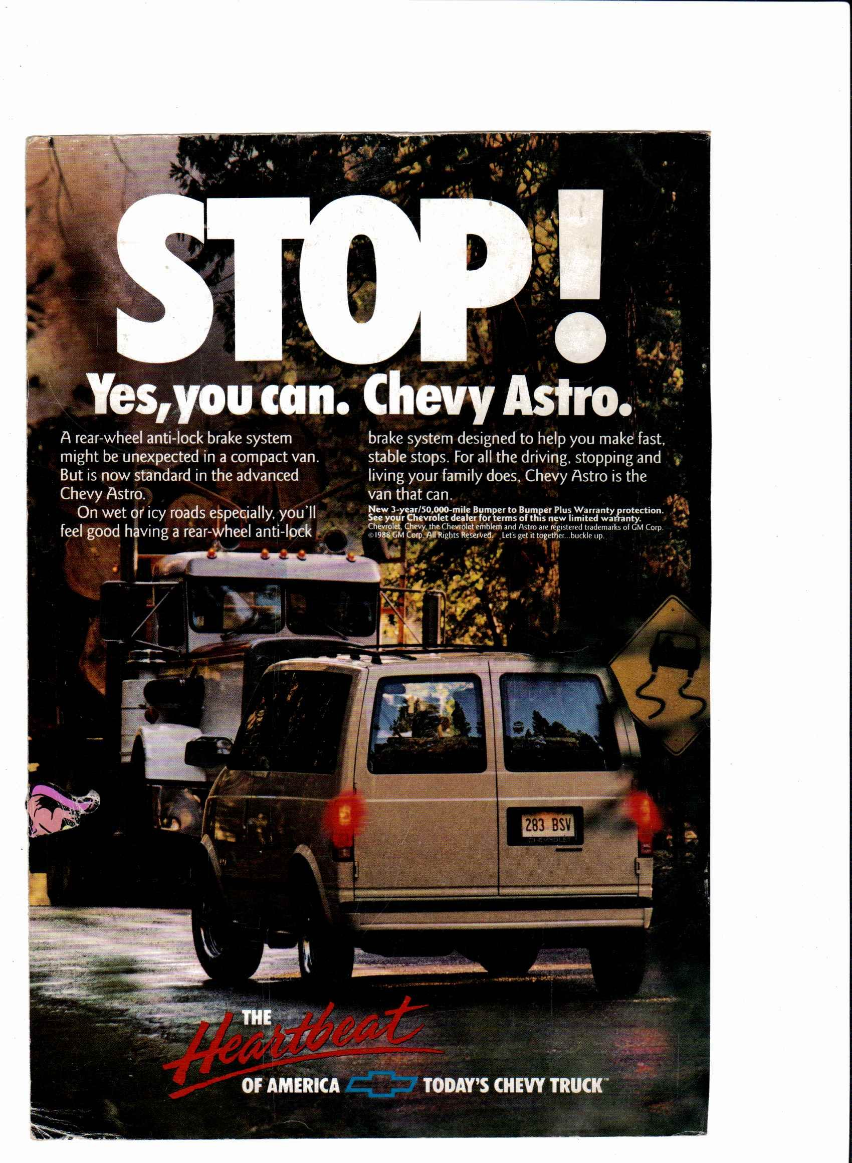 1989 Chevy Astro Van Ad National Geographic January 1989 Chevy
