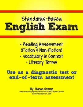 Common Core English Exam Reading and Vocabulary Assessment - use for diagnostic evaluation or end of term assessment.