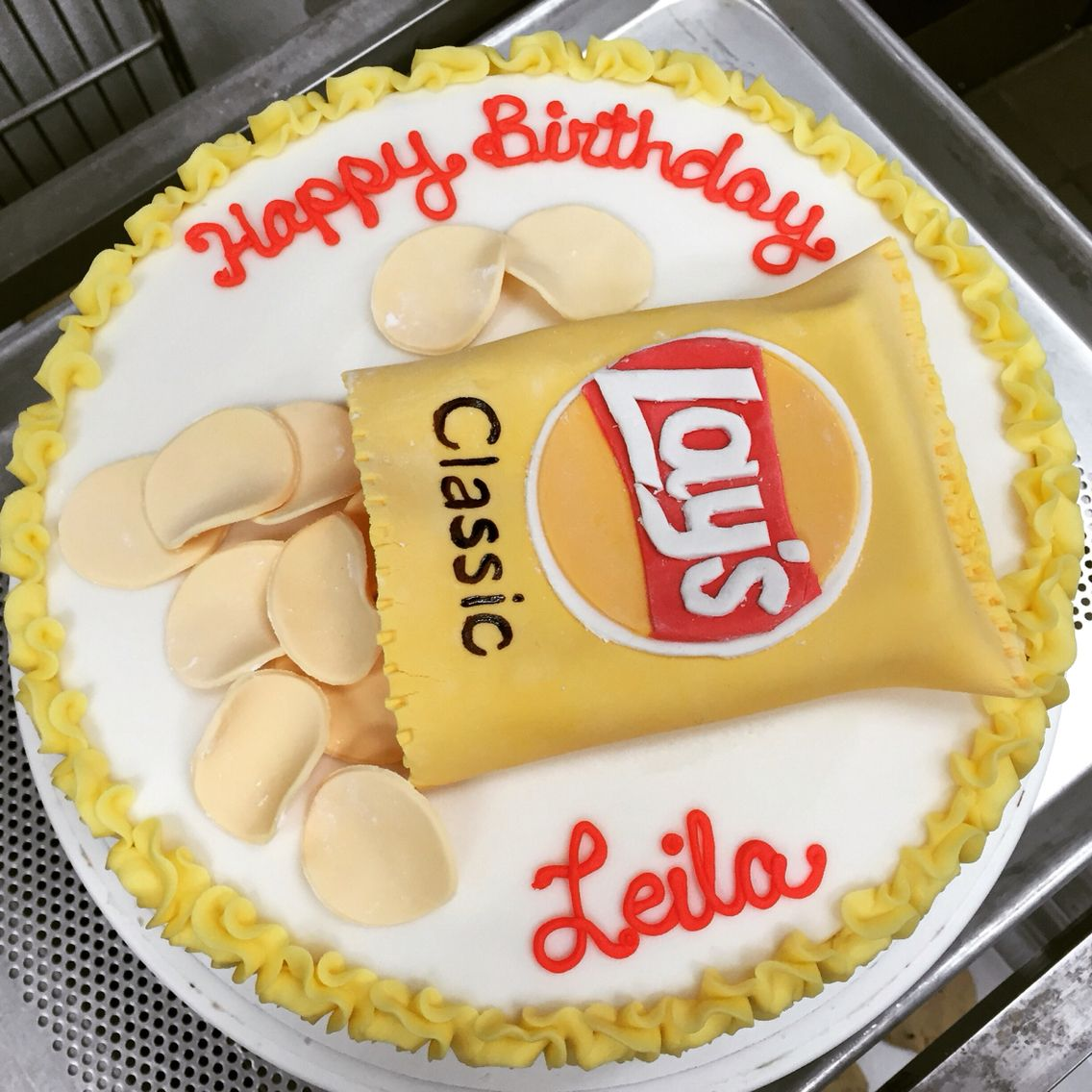 Terrific Potato Chip Birthday Cake Custom Birthday Cakes Personalised Birthday Cards Veneteletsinfo