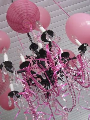 pink party — The Pleated Poppy LOVE the beads/curlsheen and hanging balloons from the light...cheap decorations!!