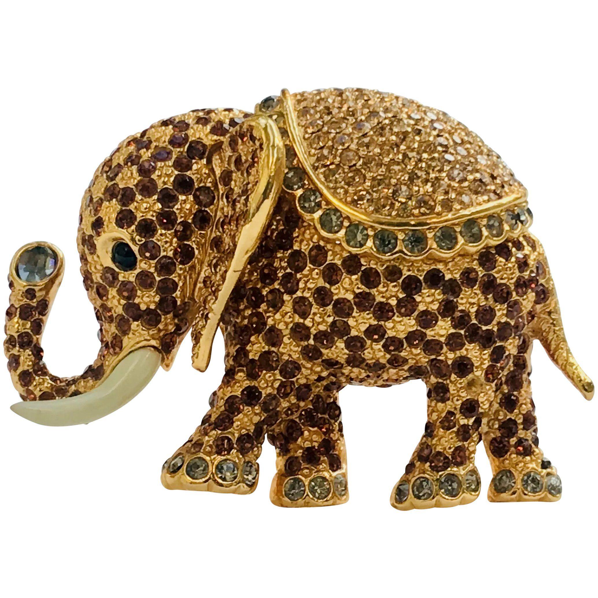 Vintage Women Rhinestone Elephantnimal Shape Enamel Brooch Pin Fashion  B