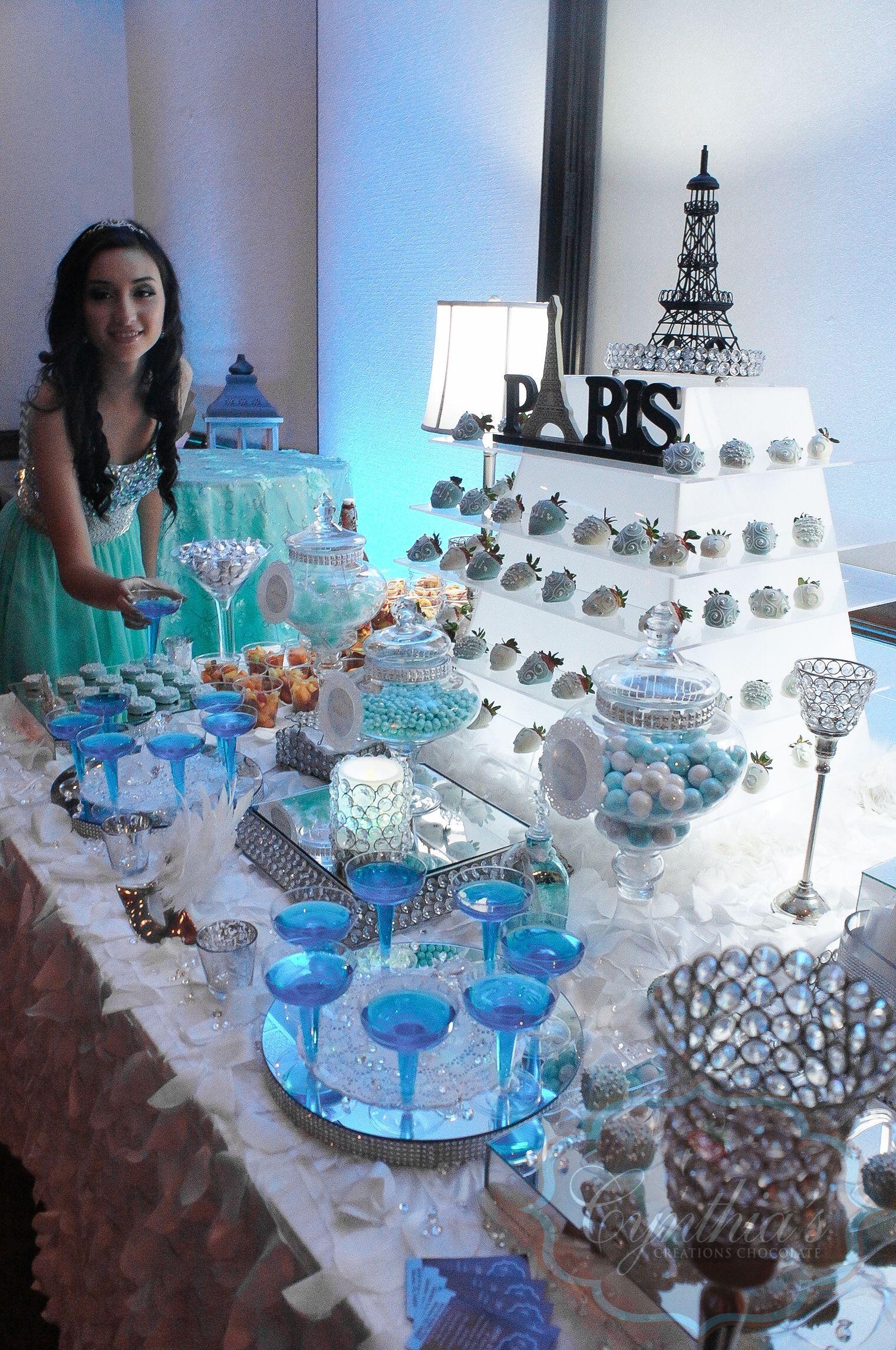 Tiffany blue Paris theme xv dessert table