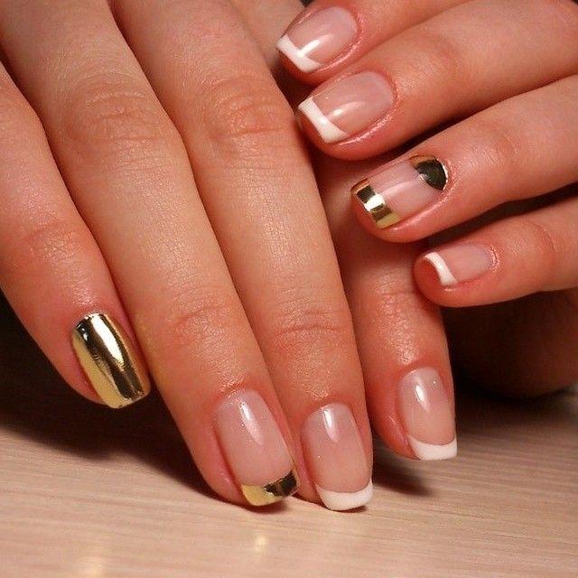 Uñas con manicura francesa en blanco y dorado | decoración uñas ...