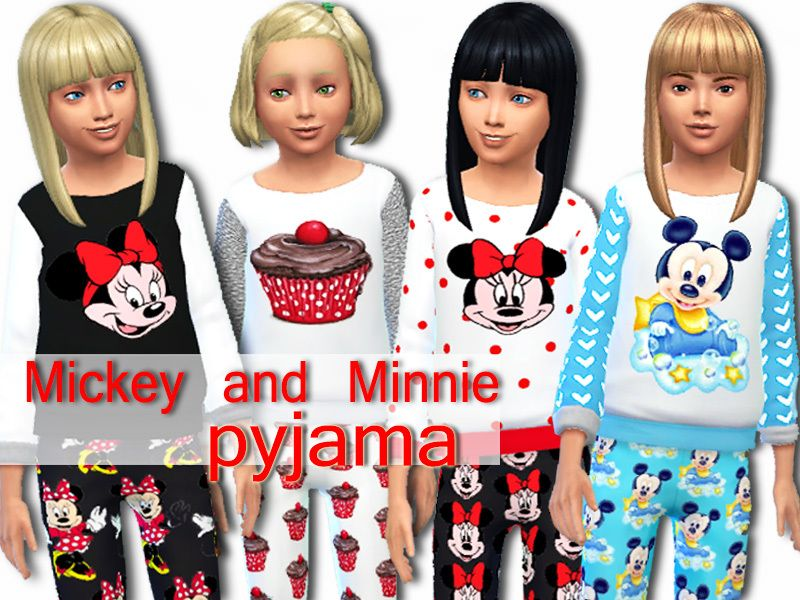 Pinkzombiecupcakes' Mickey and Minnie cotton pyjama set | Sims 4 ...
