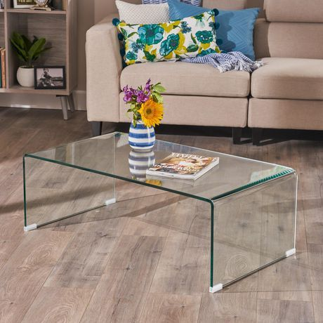 Noble House Parli Clear 12mm Tempered Glass Coffee Table Clear