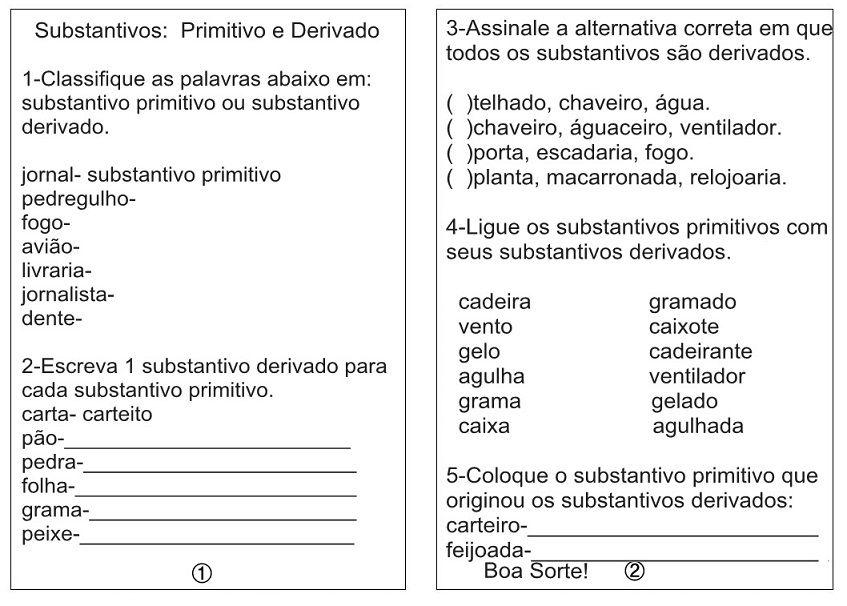 Atividades Com Substantivos Primitivos E Derivados Sala De Aula