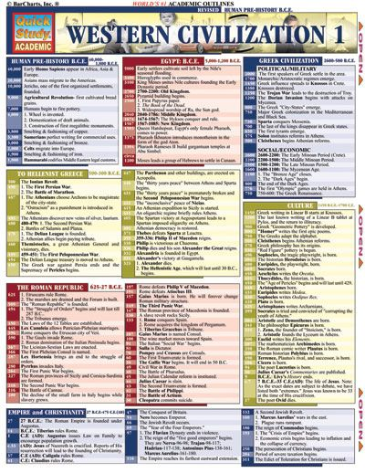 Barcharts Western Civilization 1 Quick Study Guide Notes