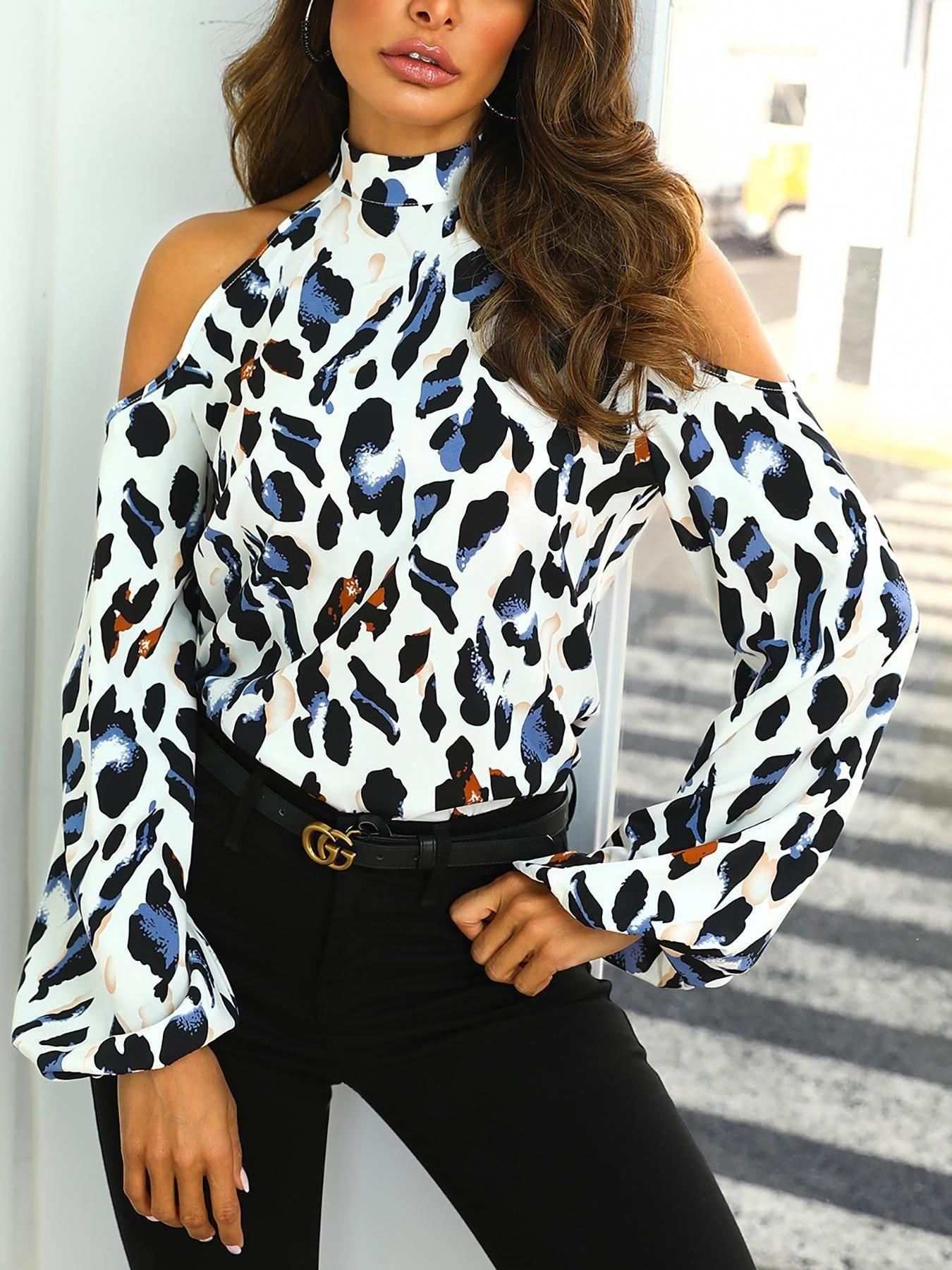 e2b69a64f6d25e Cold Shoulder Leopard Print Blouse,Cold Shoulder Leopard Print Top    Boohoo,Images for