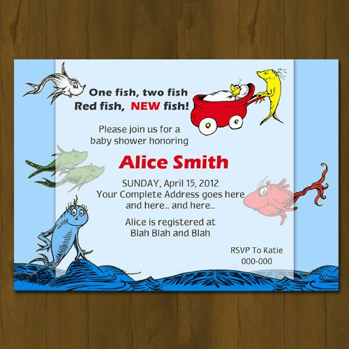 dr. seuss one fish, two fish baby shower invitation from splashbox, Baby shower invitations