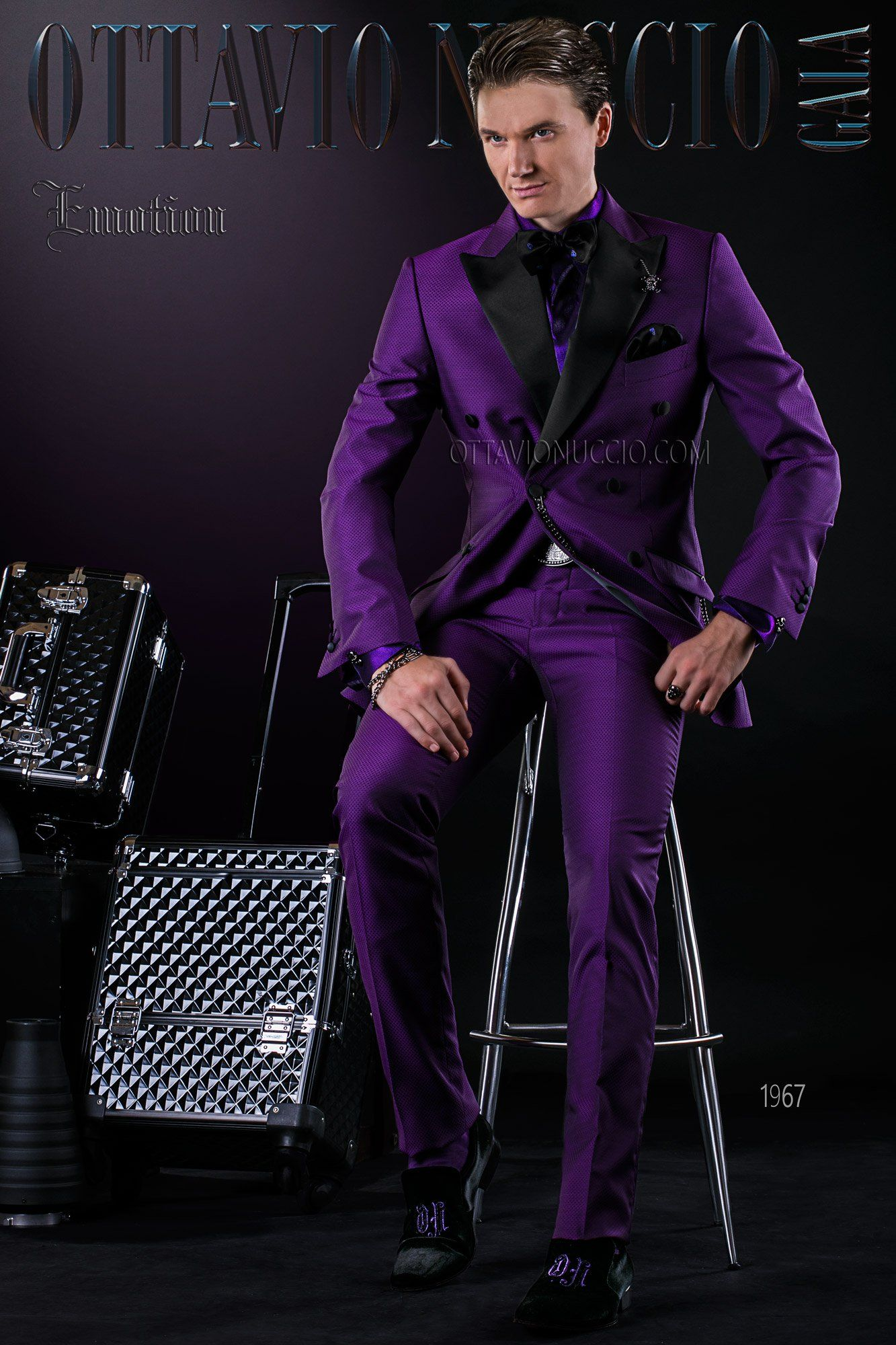Black And Purple Double Breasted Groom Suit Wedding Tuxedo Doublebreasted Italian
