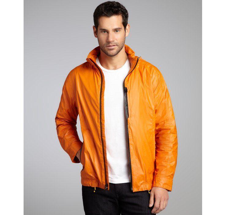 Cole Haan orange coated poly zip front hooded windbreaker
