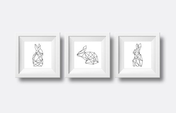 Welcome to paragonprodigy! Add a chic statement to any room, with the trio of geometric rabbits. Clean and modern, these printable posters add a stylish flair, no matter what the occasion!    NOTE: This is a downloadable file, so no physical item will be sent to you. Comes in a 12 x12 poster, in .jpeg and pdf format of high quality 300dpi. So you have the comfort of printing it yourself :)    If you have any questions, please dont hesitate to ask! Thank you for visiting my store…