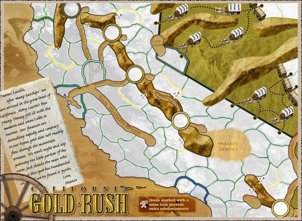 Map Of Oregon Deserts%0A California  Gold Rush Map details for the computer strategy game Lux Delux