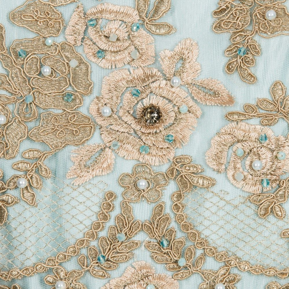 a750c115d Turquoise Blue Tulle   Gold Lace Dress