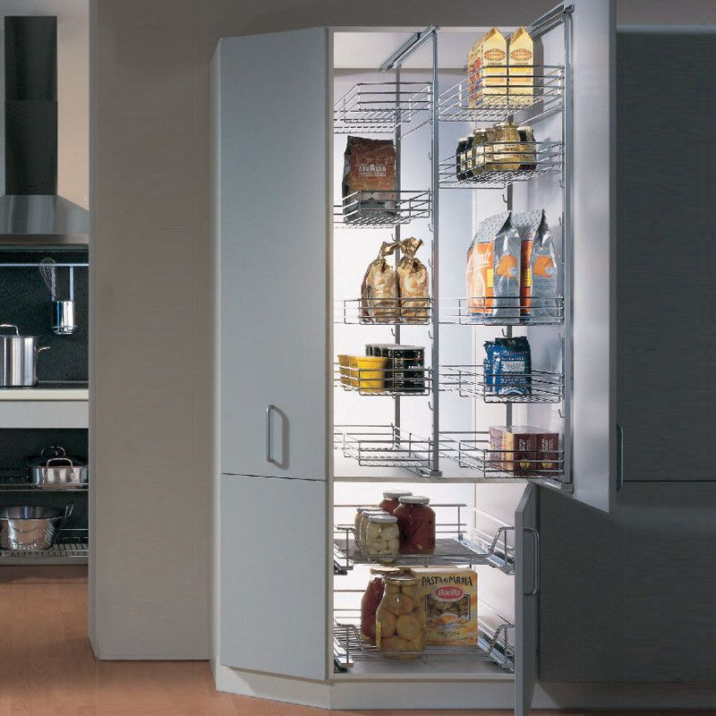 Kessebohmer pantry door frame pullout with tray and wire basket