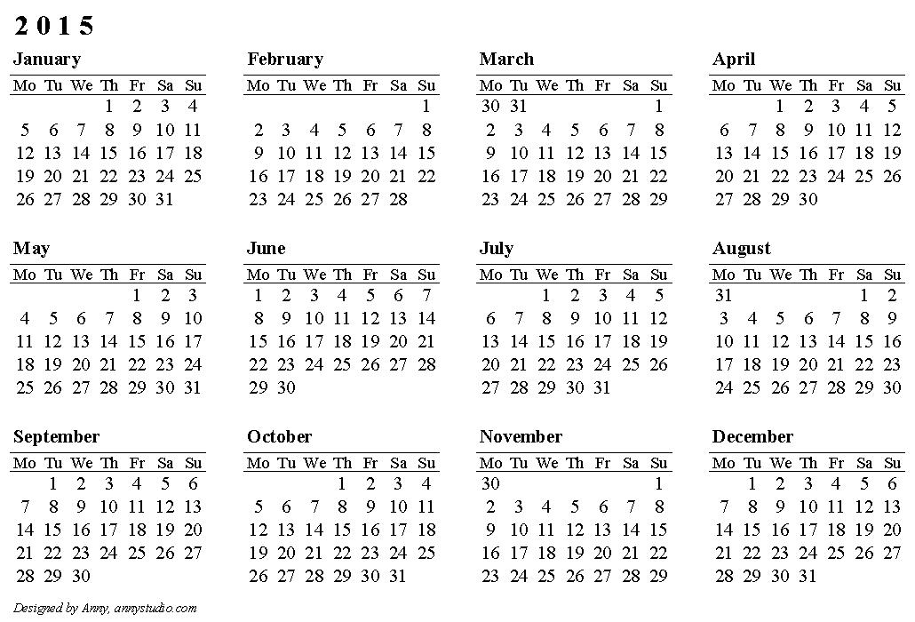 2015 calendars | Calendar 2015, weeks are in rows, start ...