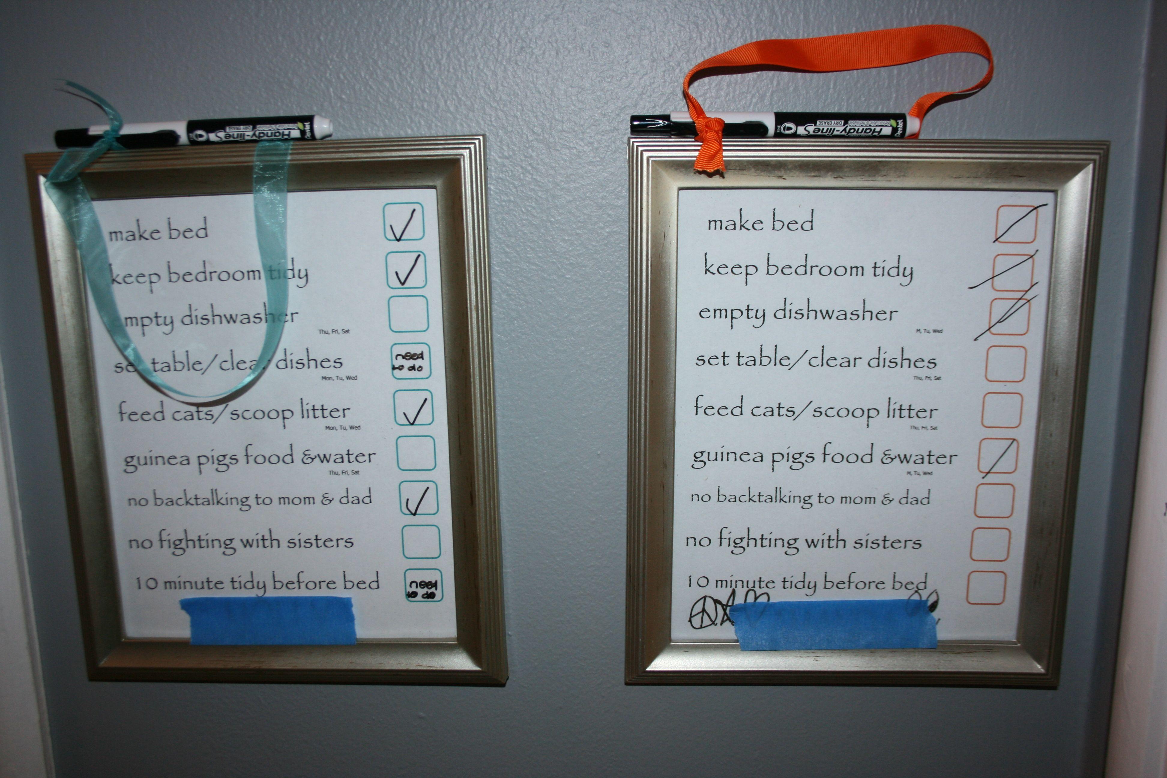 Write OnWrite Off Chore Charts For Kids  Chore Checklist