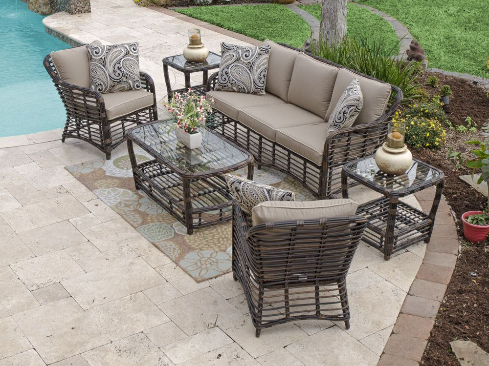 Maui 4 Pc Aluminum Resin Wicker Sofa Group With Images Wicker Furniture Outdoor Patio Furniture Deep Seating Furniture