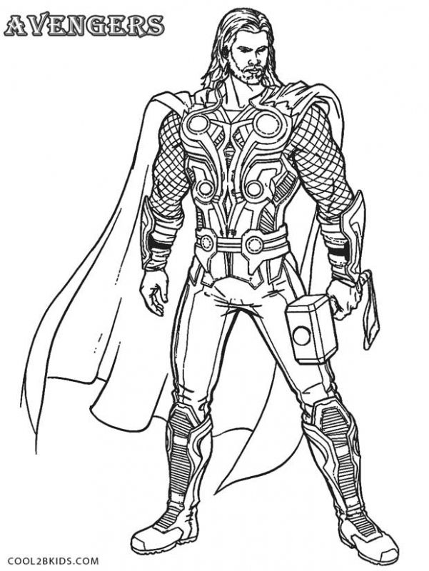20 Free Printable Thor Coloring Pages: Thor Detailed Coloring Pages Free
