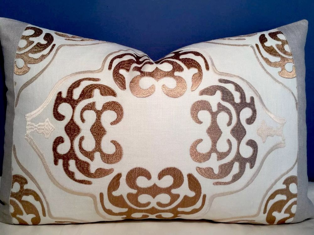 Cowtan Tout Linen Embroidered Insert Robert Allen Linen Pillow | eBay