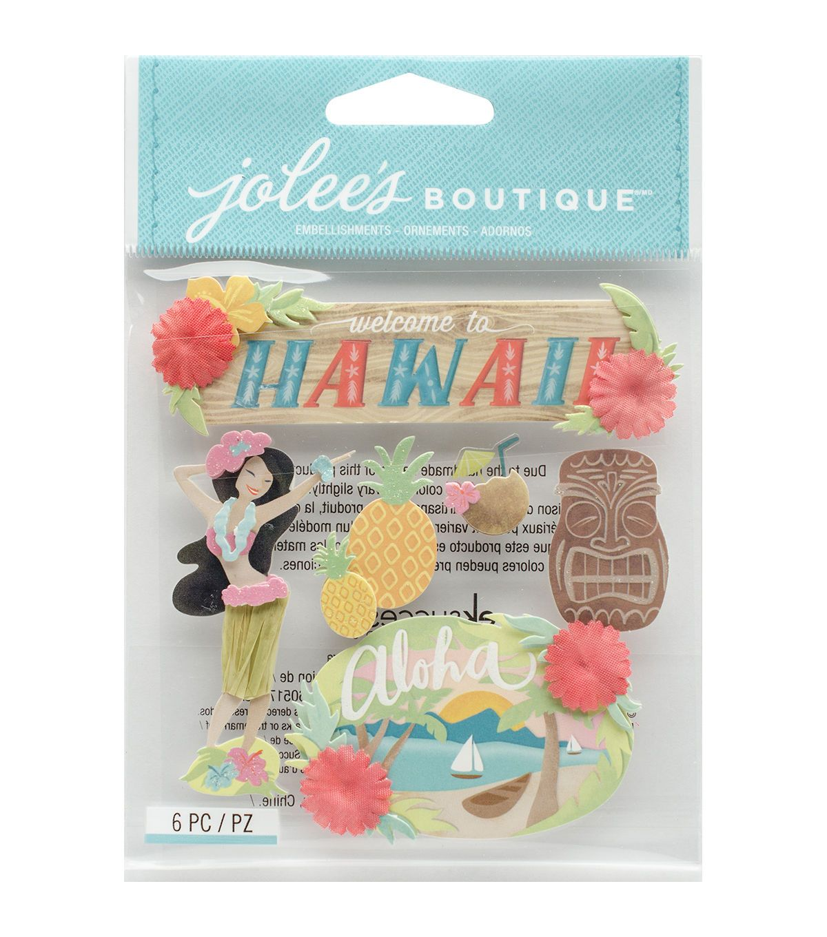 Jolee's Boutique® 6 Pack Dimensional Stickers-Hawaii