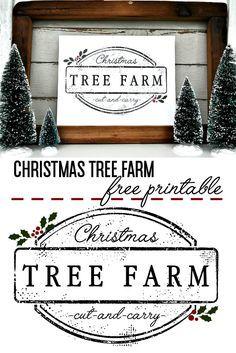 Christmas Tree Farm Printable Little Glass Jar Christmas Tree Farm Christmas Signs Rustic Christmas