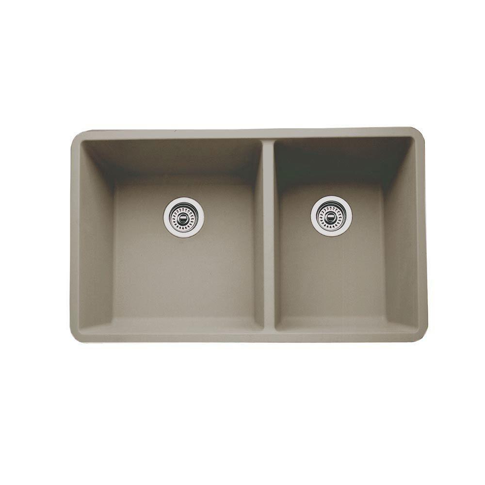 Blanco Precis Undermount Granite Composite 33 In 60 40 Double Bowl Kitchen Sink In Truffle 441296 The Home Depot Double Bowl Kitchen Sink Undermount Kitchen Sinks Sink