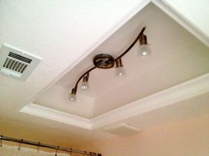 Replace Fluorescent Light Fixture In Kitchen Rules Sign Changing Box To Track Lighting And Added Molding Paint Hide The Outline Of Old