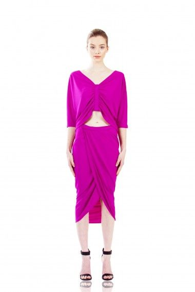 NEW ARRIVALS: Logan Wrap Skirt in Orchid by KALI. Curve-hugging skirt with a draped back and peekaboo wrap opening make both an entrance and exit. #LastaShop #Icelandic #Fashion #Style
