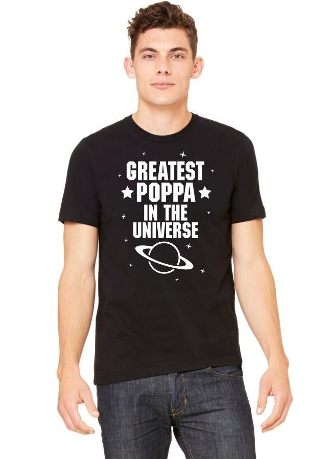 greatest poppa in the universe white print Tshirt