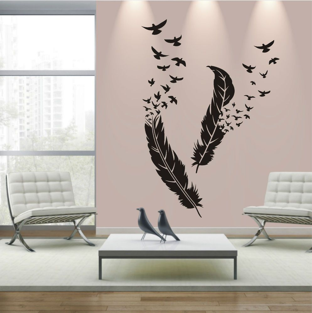 wandtattoo wandaufkleber wandsticker federn wohnzimmer. Black Bedroom Furniture Sets. Home Design Ideas