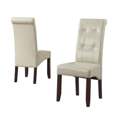 Simpli Home Cosmopolitan Faux Leather Parson Chair in Satin Cream (2-Pack)-  sc 1 st  Pinterest & Cosmopolitan Satin Cream Faux Leather Parsons Dining Chair (Set of 2 ...