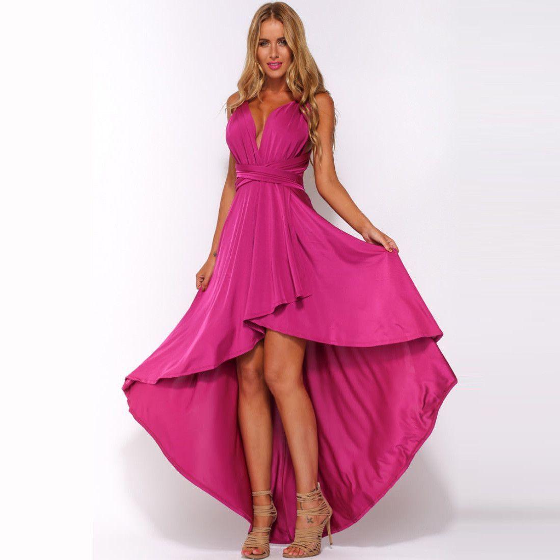 Pure Color Sexy V-neck Sleeveless Irregular Long Prom Dress | Molde ...